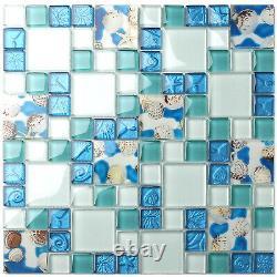 10 sheets Beach Style Glass Conch Tiles for Kitchen Backsplash Bath Wall Mosaic