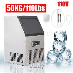110LB 50Kg Commercial Ice Cube Maker Machine Stainless Steel Bar 110V 230W Home