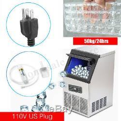 110LBs Commercial Ice Maker Machine Stainless Steel Bar Restaurant 110V Digital