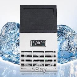 110Lbs 50Kg Auto Commercial Ice Cube Maker Machine Stainless Steel Bar 110V/230W
