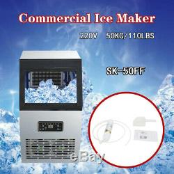 110Lbs 50kg Auto Commercial Ice Cube Maker Machine Stainless Steel 220V 230W