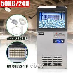 110lb Built-in Commercial Ice Maker Stainless Steel Bar Restaurant Cube Machine