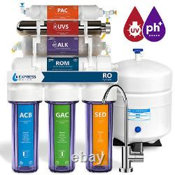 11-Stage Reverse Osmosis Water Filtration System UV Ultraviolet Alkaline Clear