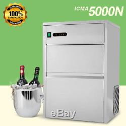 120LBS Large Commercial Bullet Ice Maker Machine Electric Stainless Steel 110V