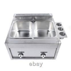 12L Commercial Countertop Gas Deep Fryer Propane(LPG) 2 Basket Stainless Steel