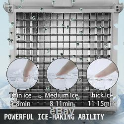 132Lbs 60kg Auto Commercial Ice Cube Maker Machine Stainless Steel Bar 110V 300W