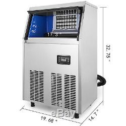 132Lbs Commercial Ice Maker Machine 60KG /24Hrs Stainless Steel Air Cooled Cube