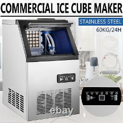 132 Lbs Commercial Ice Maker Stainless Built-in Bar Restaurant Ice Cube Machine