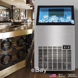 150Lbs 220V Commercial Ice Maker Machines Cube Stainless Steel Bar Restaurant SH