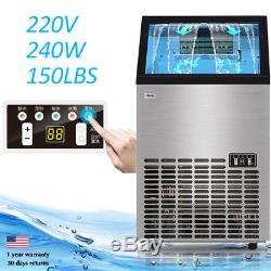 150Lbs 220V Commercial Ice Maker Machines Cube Stainless Steel Bar Restaurant SH
