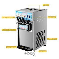 18L/H Commercial Soft Serve Ice Cream Maker 3 Flavors Ice Cream Machine dsu