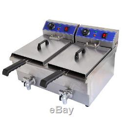 20L Commercial Electric Countertop Deep Fryer Dual Tank Restaurant Meat withFaucet