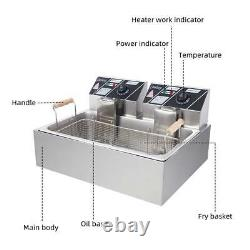22L Electric Deep Fryer Large Tank Commercial Restaurant Stainless Steel 5000W