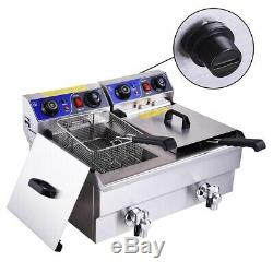 23L Electric Deep Fryer with Drain Timers Commercial Restaurant Chicken French Fry
