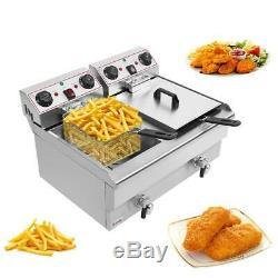 23.6L 25QT Electric Countertop Deep Fryer Commercial Basket French Restaurant