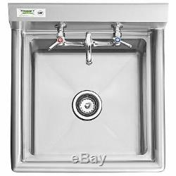 24 WITH FAUCET 18 x 18 x 12 Bowl Stainless Steel Commercial Utility Sink NSF