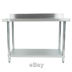 24 x 48 Stainless Steel Work Prep Shelf Table Commercial 4 Backsplash NSF