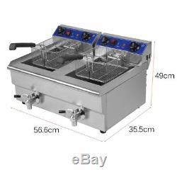26L Dual Tanks Electric Deep Fryer Commercial Tabletop Fryer +Nasket Scoop MX