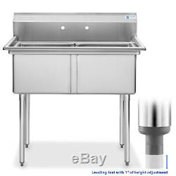 2 Compartment NSF Stainless Steel Commercial Kitchen Prep & Utility Sink