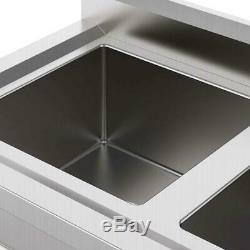 2 Compartment Sinks 304 Stainless Steel Commercial Utility Vegetable Deep Sink