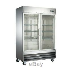 2 Glass Door Upright Reach In Commercial Stainless Steel Restaurant Refrigerator