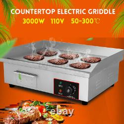 3000W Countertop Electric Griddle Grill Commercial Flat Top Non-Stick BBQ Plate