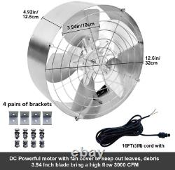 3000 CFM Commercial Industrial Extractor Fan Ventilation Fan + 18V Solar Panel