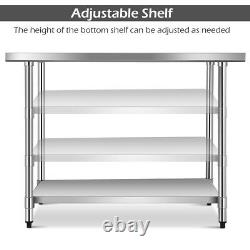30 x 48 Stainless Steel Food Prep & Work Table Commercial Kitchen Table Silver