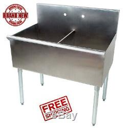 36 2 Compartment 18 x 21 x14 Stainless Steel Commercial Utility Prep Two Sink