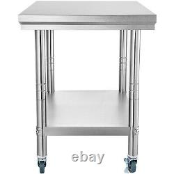 36 x 24 Stainless Steel Commercial Kitchen Prep & Work Table with 4 Casters