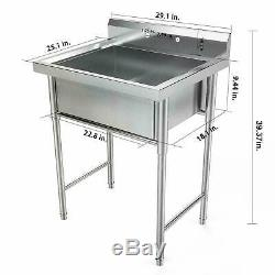 39 Stainless Steel Kitchen Sink Utility Square Commercial for Washing Room USA