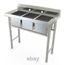 39 Wide Heavy Duty Commercial 3-Compartment Stainless Steel Utility Sink Silver