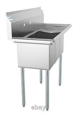 3 Compartment NSF Stainless Steel Commercial Kitchen Sink with Right Drainboard