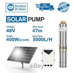 3 DC Solar Water Pump 48V 400W Submersible + MPPT Controller Deep Bore Well