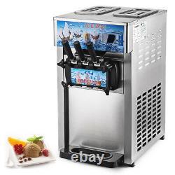 3 Flavor 110V Commercial Frozen Yogurt Soft Ice Cream Cones Maker Machine 18L/H