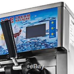 3 Flavors Commercial Soft Ice Cream Machine Frozen Ice Cream Cones Machine 220V
