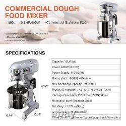 3 Speed Commercial Dough Food Mixer 600W 4/5P 15Qt Stainless Steel Pizza Bakery