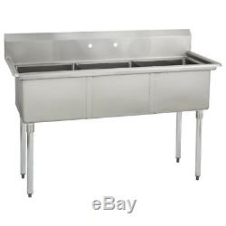 (3) Three Compartment Commercial Stainless Steel Sink 59 x 23.8 G