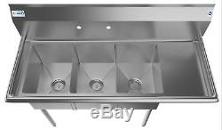 3 Three Compartment NSF Stainless Steel Commercial Kitchen Sink w Drainboard 51