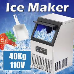 40KG 88Lbs Commercial Bar Ice Maker Cube Machines Stainless Steel 110V US Stock