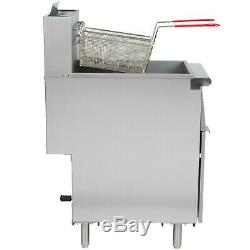 40 lb. NATURAL GAS Commercial Restaurant Stainless Steel Floor Deep Fryer 3 Tube
