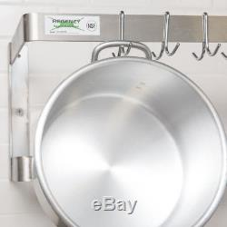 48 NSF Wall Mounted Commercial Stainless Steel Double Pot Rack with 18 Hooks