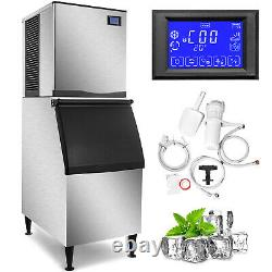 500Lbs Commercial Ice Maker Ice Cube Machine Cafe 350Lbs Storage Digital Control