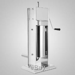 5L Stainless Steel 15LBS Commercial Restaurant Sausage Stuffer Press Dual Speed