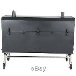 60 Black Portable Commercial Outdoor Wild Game Pig BBQ Charcoal / Wood Smoker
