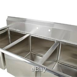 60 Stainless Steel 3 Compartment Commercial Sink Restaurant Three Utility