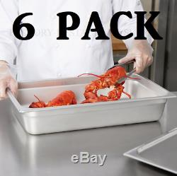 6 PACK Full Size 4 Deep Stainless Steel Commercial Steam Prep Table Food Pan