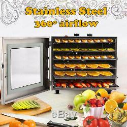 6 Tier Food Dehydrator, Stainless Steel-Fruit Jerky Meat Dryer Blower Commercial