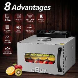 6 Trays Food Dehydrators Commercial Fruit Dehydrator Beef Jerky Maker UK