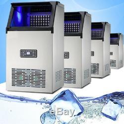 70KG 110V Commercial Ice Cube Maker Stainless Steel Machine Freezer Frozen Drink